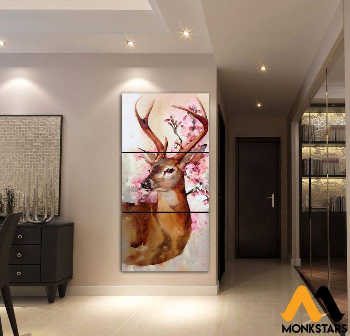 3-Piece Deer Watercolor Canvas Wall Art Adgk250401 Painting & Calligraphy
