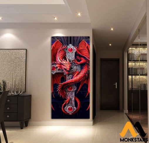 3-Piece Dragon Canvas Wall Art Painting & Calligraphy