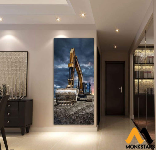 3-Piece Heavy Equipment Printed Canvas Wall Art Painting & Calligraphy