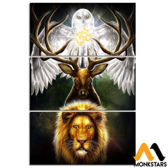 3-Piece Om With Eagle Deer And Tiger Printed Canvas Wall Art Sm240408 Painting & Calligraphy