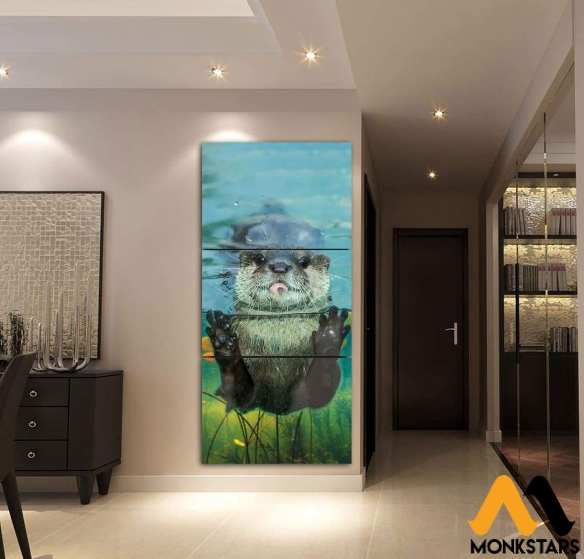 3-Piece Otter Printed Canvas Wall Art Adak240401 Painting & Calligraphy