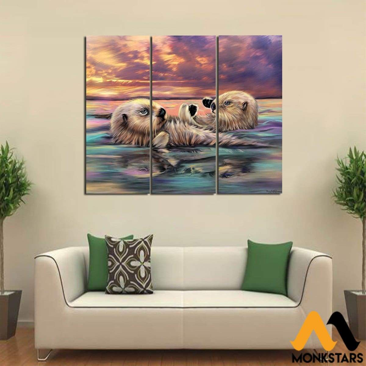 3-Piece Otter Printed Canvas Wall Art Painting & Calligraphy