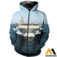 3D All Over Printed Aircraft Carriers T-Shirt Hoodie Sctl130403 Zipped / Xs Clothes
