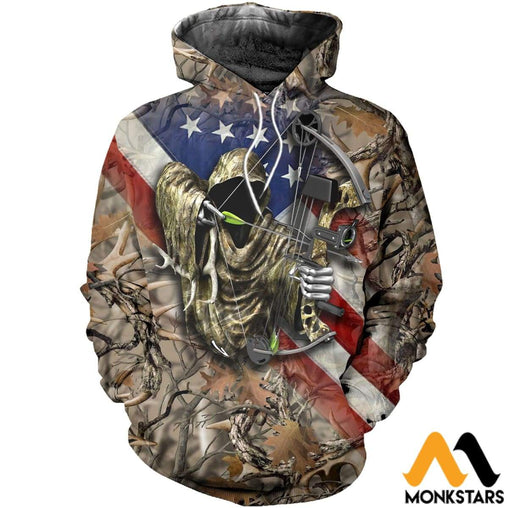3D All Over Printed American Bowhunting Camo Shirts And Shorts Normal Hoodie / Xs Clothes