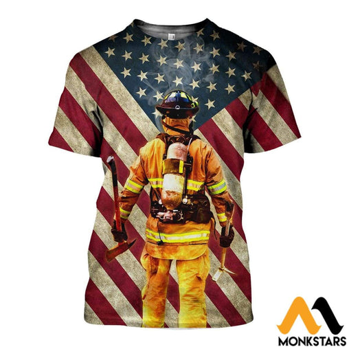 3D All Over Printed American Flag Firefighter Shirts And Shorts T-Shirt / Xs Clothes