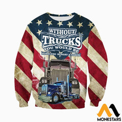 3D All Over Printed American Trucker Shirts And Shorts Long-Sleeved Shirt / Xs Clothes