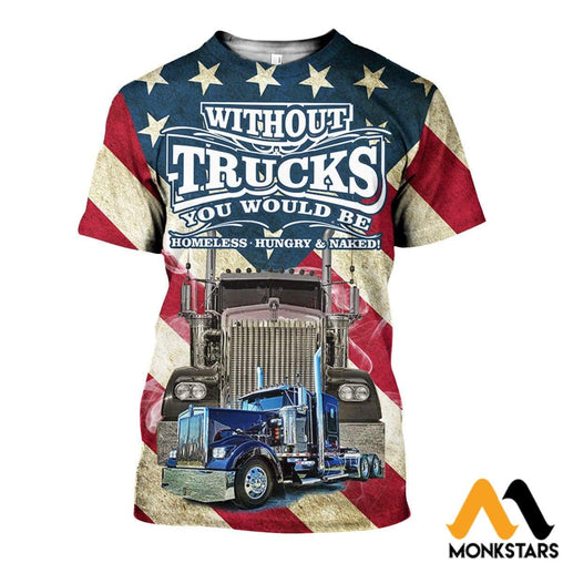 3D All Over Printed American Trucker Shirts And Shorts T-Shirt / Xs Clothes
