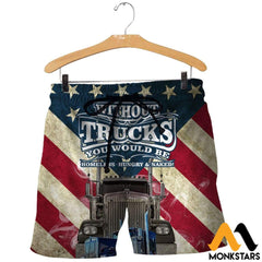 3D All Over Printed American Trucker Shirts And Shorts / Xs Clothes