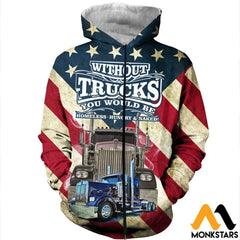 3D All Over Printed American Trucker Shirts And Shorts Zipped Hoodie / Xs Clothes