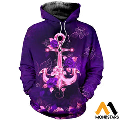 3D All Over Printed Anchor And Purple Flowers Clothes Normal Hoodie / Xs