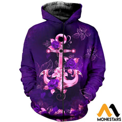 3D All Over Printed Anchor And Purple Flowers Clothes Zipped Hoodie / Xs