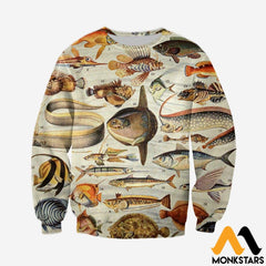 3D All Over Printed Ancient Fish Shirts And Shorts Long-Sleeved Shirt / Xs Clothes