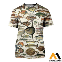 3D All Over Printed Ancient Fish Shirts And Shorts T-Shirt / Xs Clothes