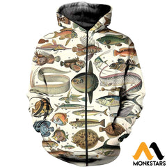3D All Over Printed Ancient Fish Shirts And Shorts Zipped Hoodie / Xs Clothes