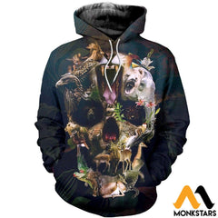 3D All Over Printed Animal Skull Shirts And Shorts Normal Hoodie / Xs Clothes