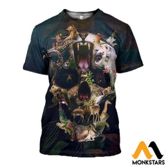 3D All Over Printed Animal Skull Shirts And Shorts T-Shirt / Xs Clothes