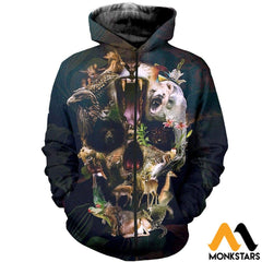 3D All Over Printed Animal Skull Shirts And Shorts Zipped Hoodie / Xs Clothes