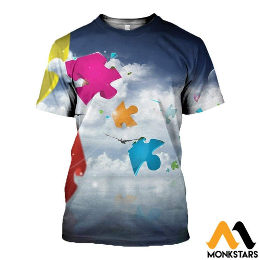 3D All Over Printed Autism Clothes T-Shirt / Xs