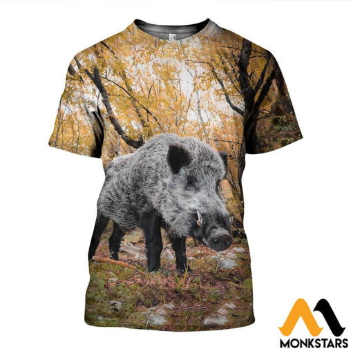 3D All Over Printed Autumn Hunting Boar Shirts And Shorts T-Shirt / Xs Clothes