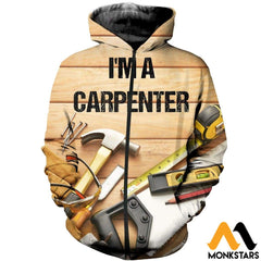 3D All Over Printed Awesome Carpenter T-Shirt Hoodie Sauk190410 Zipped / Xs Clothes