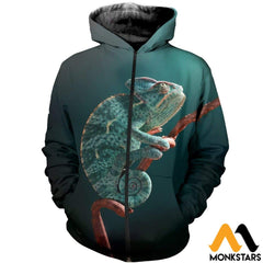 3D All Over Printed Awesome Chameleon T-Shirt Hoodie Aduk260401 Zipped / Xs Clothes