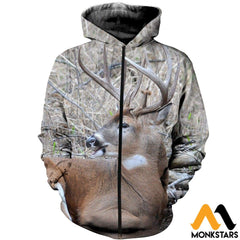 3D All Over Printed Awesome Deer Clothes Zipped Hoodie / Xs