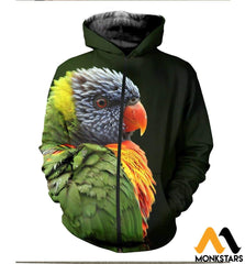 3D All Over Printed Awesome Parrot T-Shirt Hoodie St0K230406 Zipped / Xs Clothes