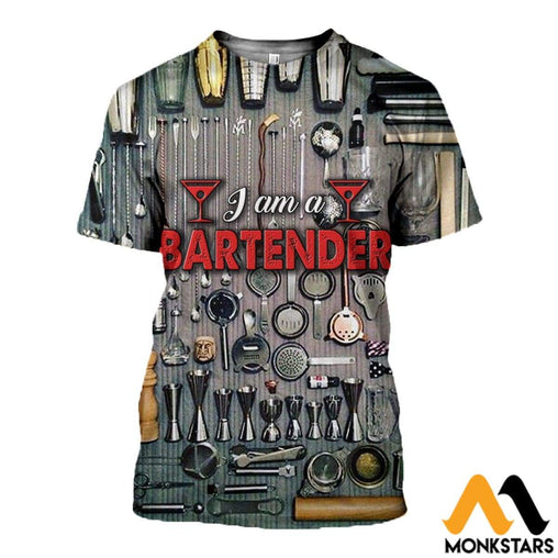 3D All Over Printed Bartender Tops T-Shirt / Xs Clothes