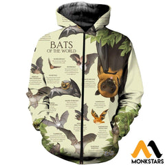 3D All Over Printed Bats Of The World Shirts And Shorts Zipped Hoodie / Xs Clothes