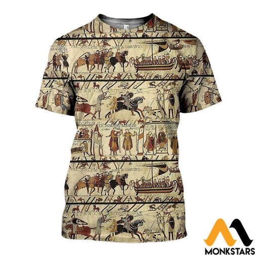 3D All Over Printed Bayeux Tapestry Harold Death Shirts And Shorts T-Shirt / Xs Clothes