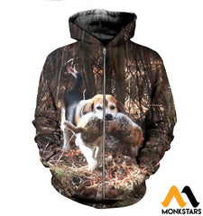 3D All Over Printed Beagle And Rabbit Clothes Zipped Hoodie / Xs