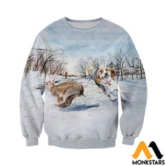 3D All Over Printed Beagle Chasing Rabbit Clothes Long-Sleeved Shirt / Xs