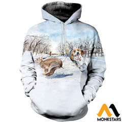 3D All Over Printed Beagle Chasing Rabbit Clothes Normal Hoodie / Xs
