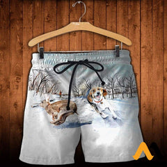 3D All Over Printed Beagle Chasing Rabbit Clothes Shorts / Xs