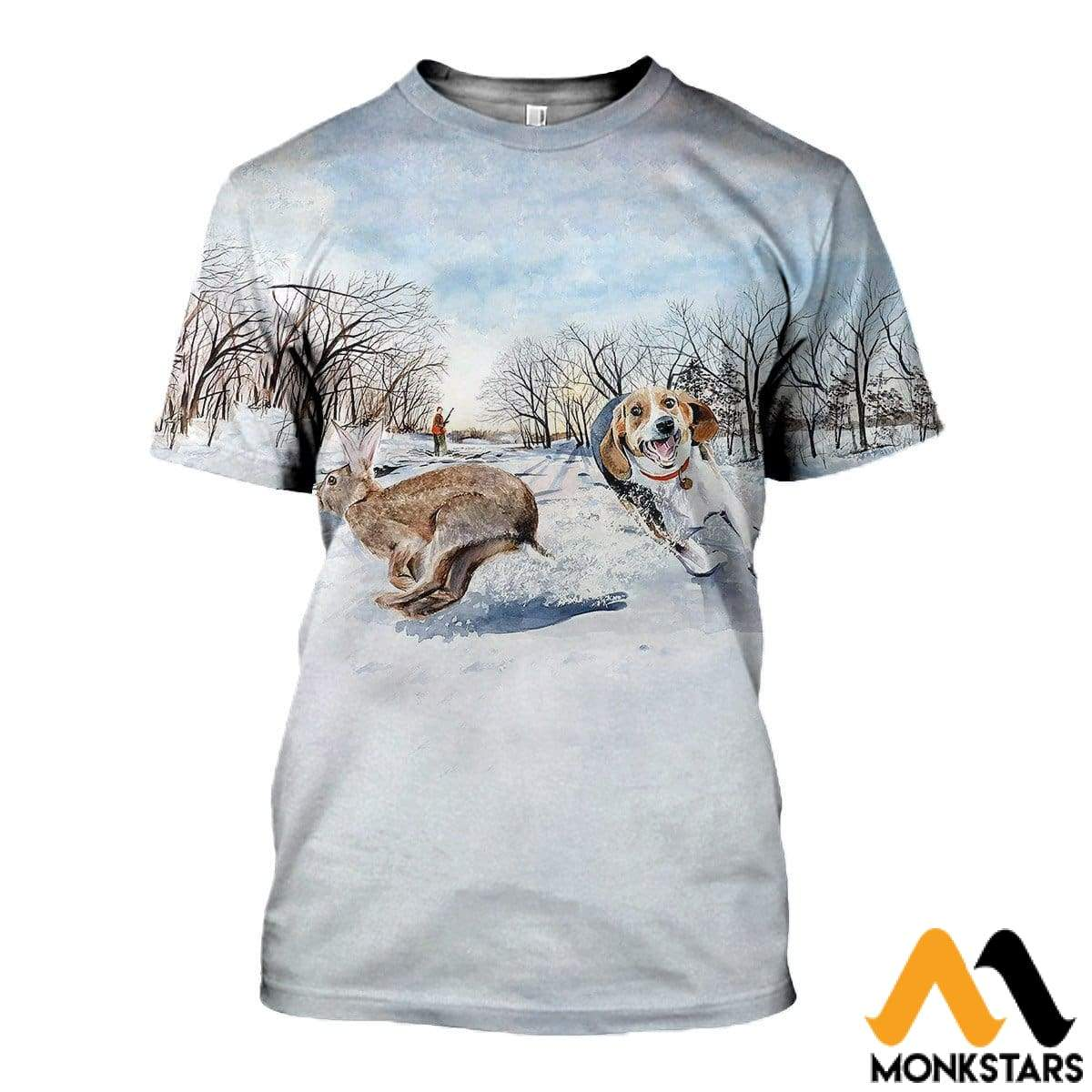 3D All Over Printed Beagle Chasing Rabbit Clothes T-Shirt / Xs