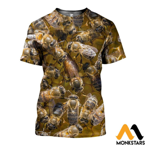 3D All Over Printed Beautiful Bees Shirts And Shorts T-Shirt / Xs Clothes