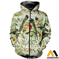 3D All Over Printed Beautiful Birds Shirts And Shorts Zipped Hoodie / Xs Clothes