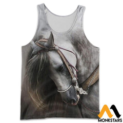 3D All Over Printed Beautiful Horse Art Shirts And Shorts Tank Top / S Clothes