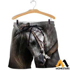 3D All Over Printed Beautiful Horse Art Shirts And Shorts / Xs Clothes