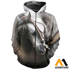 3D All Over Printed Beautiful Horse Art Shirts And Shorts Zipped Hoodie / Xs Clothes