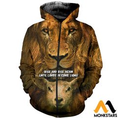 3D All Over Printed Becoming Lion T-Shirt Hoodie Sntk170406 Zipped / Xs Clothes