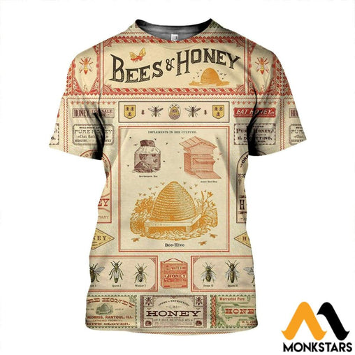 3D All Over Printed Bee And Honey Shirts Shorts T-Shirt / Xs Clothes