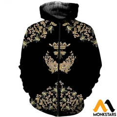 3D All Over Printed Bee Queen Shirts Zipped Hoodie / Xs Clothes