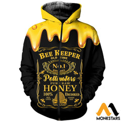 3D All Over Printed Beekeeper Tops Zipped Hoodie / Xs Clothes