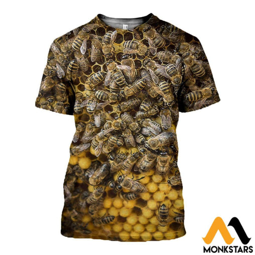 3D All Over Printed Bees Clothes T-Shirt / Xs