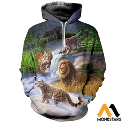 3D All Over Printed Big Cat T-Shirt Hoodie Sauk250401 Normal / Xs Clothes