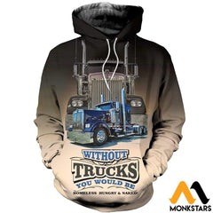3D All Over Printed Big Truck Clothes Normal Hoodie / Xs