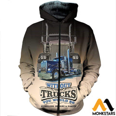 3D All Over Printed Big Truck Clothes Zipped Hoodie / Xs