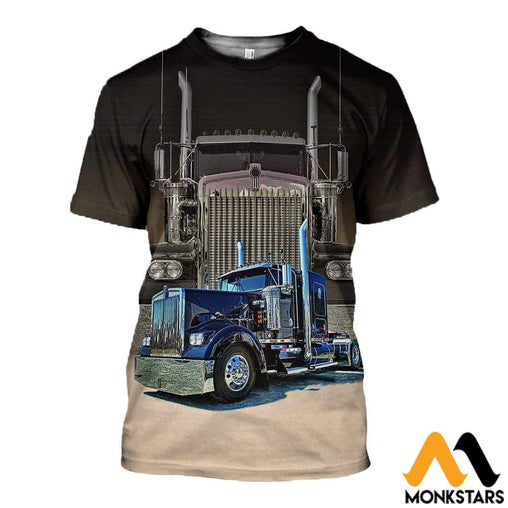 3D All Over Printed Big Truck - Semi Clothes T-Shirt / Xs