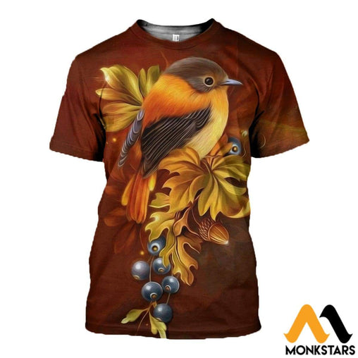 3D All Over Printed Bird Art Clothes T-Shirt / Xs